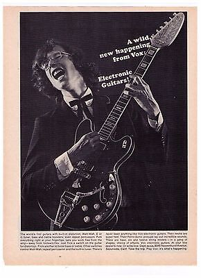 """1965 Vox Electronic Guitars """"A Wild New Happening"""" Vintage  Print Advertisement"""