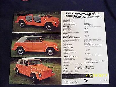 "VW ""Thing"" Volkswagen Dealer Ad Specs and Features Sheet with Full Picture"
