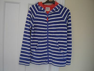 Boden blue/white striped towelling jacket 9-10 years
