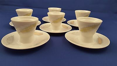 "Lot 6 Vtg Rosenthal ""bunte Blatter"" Egg Cups Continental Attached Plate White Ec"