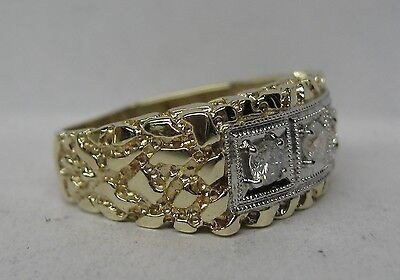 Mens 10K Solid Gold Nugget 3 Stone .43 Ct. Diamond Band Ring
