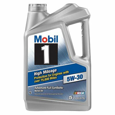 Motor Oil Mobil 1 5W-30 High Mileage Full Synthetic 5 Quart Car ATV Auto Vehicle