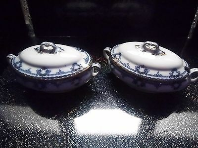 Two Small Tureens Antique Ford & Sons Ltd Regent Pattern Blue White & Gilt V G C