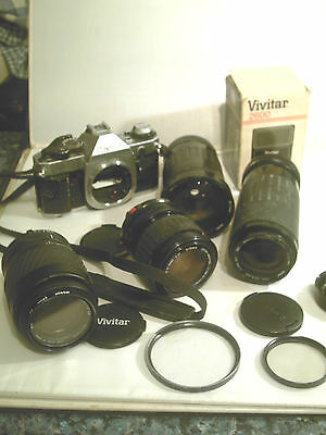 Canon Ae1 Program Camera , And Camera Lenses Flash