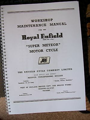 Royal Enfield 1960 Super Meteor Motorcycle Instruction Manual