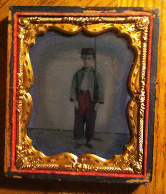 Hand Colored Civil War Tintype of child soldier confederate - Cond. VG