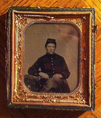 Civil War Tin Type of sitting soldier - Condition Very Good  Missing front cover