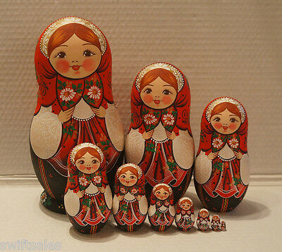 VERY BIG Russian Matryoshka - Wooden Nesting Dolls - 10 Pieces Unique Coloring