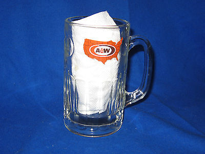 "Vintage 1972 A&W Root Beer 6"" Heavy Glass Mug  U.S. Map Logo"