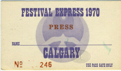Janis Joplin Grateful Dead 1970 Festival Express Performer Backstage Pass