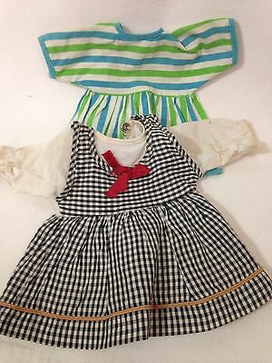 "Vintage 2 PC Doll Clothes for 11"" - 12"" Dolls Plaid and Stripes Dresses - Snaps"