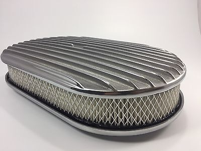 "15"" Oval Finned Polished Aluminum Classic Nostalgia Air Cleaner Chevy Ford Mopar"