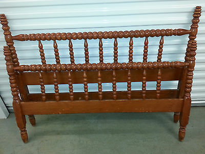 Antique Jenny Lind Spool Carved Wood Headboard Footboard Bed