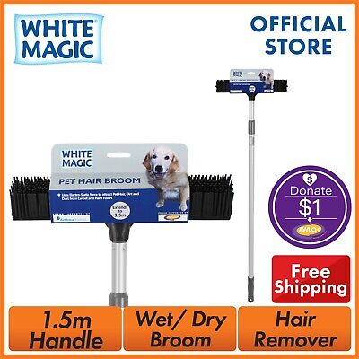 White Magic Natural Rubber Bristles Pet Hair Broom Hair Remover All Surface Dog