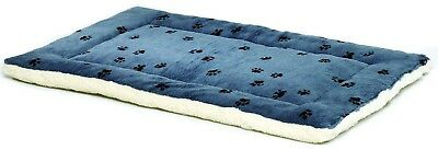 Midwest Quiet Time 23-By-17-Inch Paw Print/Fleece Reversible Pet Bed (Blue)