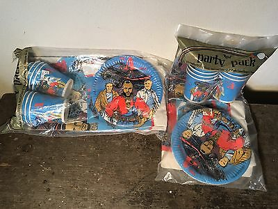 Mr. T Birthday Party Paper Tableloth Plates Cups Napkins A team Vintage 1983