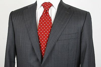 Canali Two Button Sport Coat Size 40R Charcoal Gray Striped 100% Wool Italy