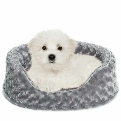 Furhaven Pet Products Ultra Plush Oval Pet Bed Gray Small 19x15x5.5-Inch