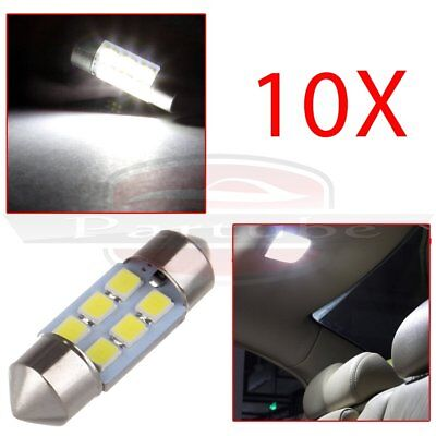 10x White 31MM Festoon Dome Map Interior LED Light 2835 6-SMD Lamp DE3175 3022