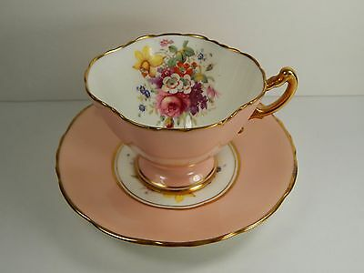 Hammersley Pink Tea Cup and Saucer. Rose Bouquet of Flowers. England.