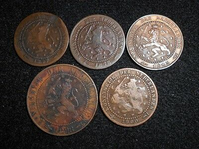 +++Old  Foreign Netherlands 5 Coin Lot +++