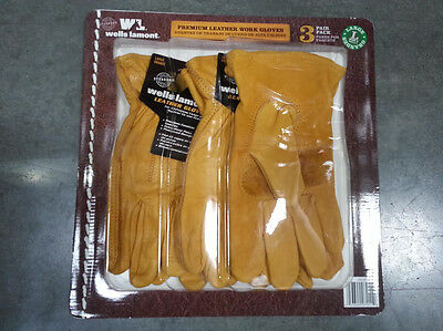 3 pairs Wells Lamont Premium Leather Work Gloves Precurved Design Large