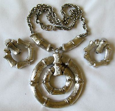 NAPIER Modernist Vintage Statement Necklace and Matching KJL Clip Earrings