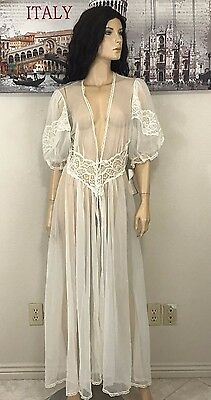 Vintage Val Mode Ivory Sheer Lace Long Nightgown Robe Lingerie Size M Medium NWT