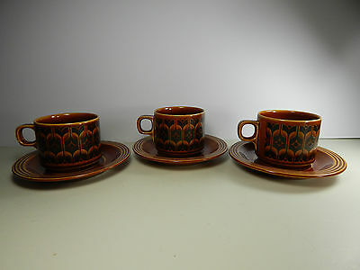 Hornsea Heirloom Cups and Saucers. Vintage 1970's.