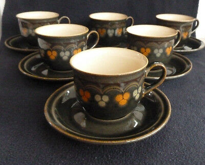 "Set SIX Denby Stoneware Cups & Saucers ""Oberon"" Tableware Beige / Dark Green"