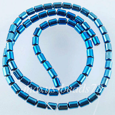 "Natural Blue Ray No Magnetic Hematite Gemstone Column Beads 3x5mm 15.5"" MG1541"
