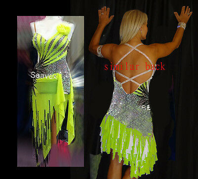 L2945 Ballroom Rhythm salsa Latin samba swing dance dress UK 8 green