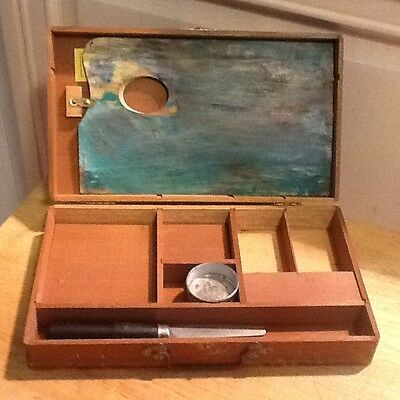 "Vintage Wooden Artist Box & Pallette, Stack Joint  ""As Is"""
