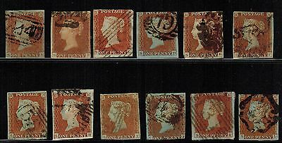 Great Britain #3, 1841 1d Imperf full row of 12 letters, SA-SL, VG (Sc $108 US)