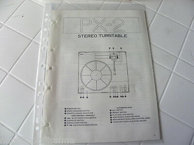 Yamaha Original Service Schematic PX - 2 Stereo Turntable