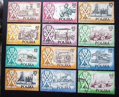 POLAND - 1954 10th ANNIVERSARY of PRL Full Set of 10 MNH + 2 Varieties Used