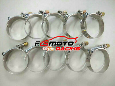"""10x 2.5"""" inch 63mm Turbo Pipe Hose Coupler T-bolt Clamps Stainless Steel 66-74mm"""