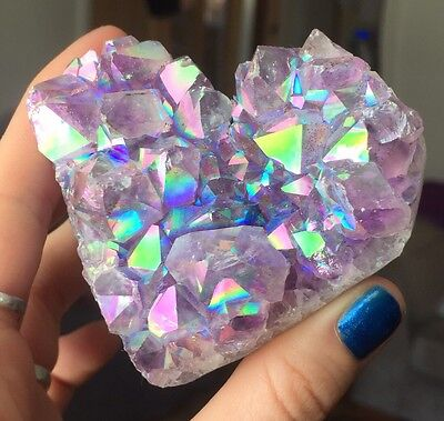 Extrodinary High Quality Amethyst Aura Heart Crystal Quartz Angel Healing Rare