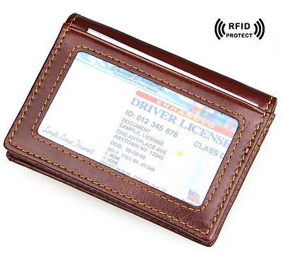RFID Bifold Wallet Slim Genuine Leather Credit Card Holder ID Window Men Brown