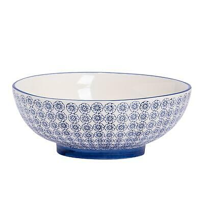Porcelain Salad Bowl China Fruit Food Serving - Blue Flower - 304mm