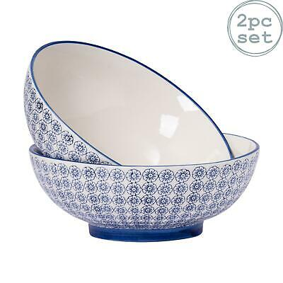 Patterned Salad Bowl Serving Fruit Porcelain Bowls Blue Flower - 304mm x2