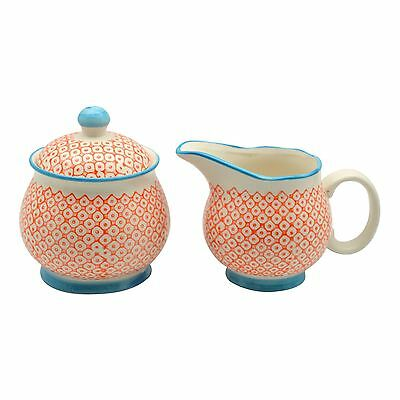 Patterned Milk Jug 300ml & Sugar Pot / Bowl Set -  Orange / Blue Print