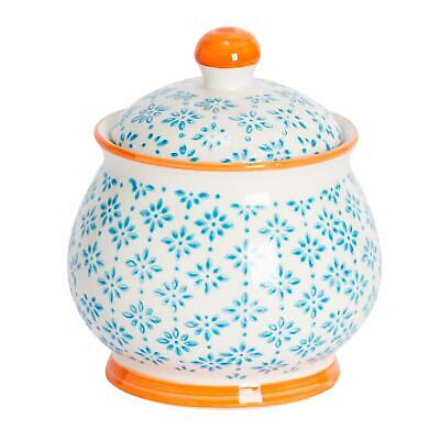 Patterned Sugar Bowl / Pot with Lid - Blue / Orange