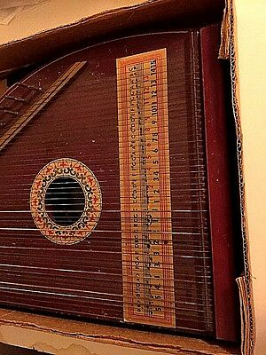 "Antique Zither American Oscar Schmidt 45 Strings International 19""X 13"" VINTAGE"