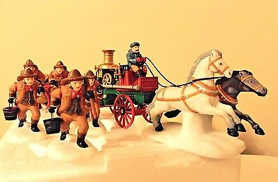 DEPT 56 Dickens Village THE FIRE BRIGADE OF LONDON TOWN MIB Set of 6