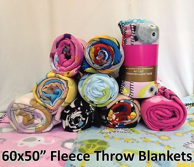 "24x Fleece Throw Blankets 50x60"" Wholesale Job Lot Assorted Animal Print Designs"
