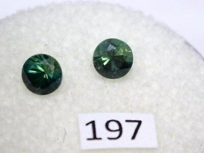Natural Australian Sapphires Pair of 2 x 4mm round, total of .76 cts. ID #197