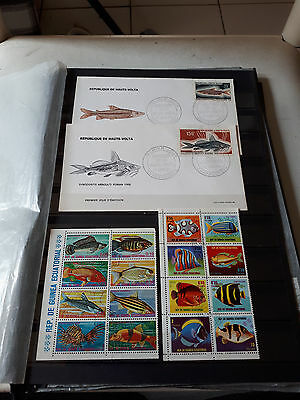 "16 timbres ""Poissons"" & 2 FDC (lot BZ)"