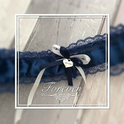 ❤️navy Blue Garter White /blue Bow Bride Hart Small Rhinestone Made In Uk