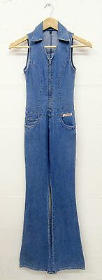 VINTAGE RETRO 70's STYLE BLUE DENIM FLARED JUMPSUIT ALL IN ONE SIZE 4 SMALL